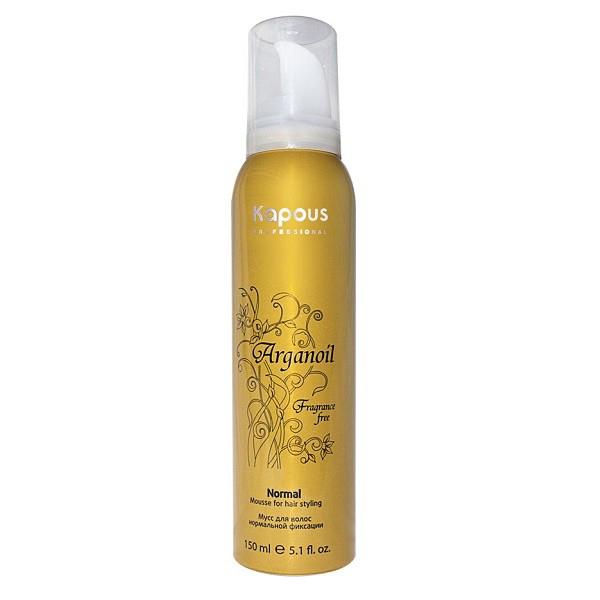 Kapous Мусс аэрозольный для волос нормальной фиксации с маслом арганы Arganoil 150 млKap16/852Серия «Fragrance free» не имеет парфюмированных добавок.Мусс для волос нормальной фиксации предназначен для всех типов волос. Фиксируя объем, делает любую прическу естественной, обеспечивает длительный результат. Масло Арганы придает волосам естественный блеск, предотвращает иссушение, защищает волосы от воздействия горячего фена и солнечных лучей.