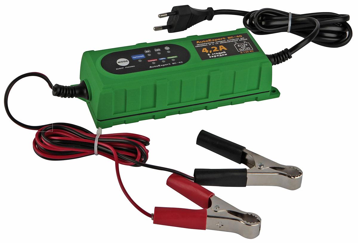 AutoExpert BC 40, Green зарядное устройство для АКБ автомобиля2012506200400AutoExpert BC 40 - компактное зарядное устройство для обслуживания и зарядки всех типов 12 вольтовых и 6 вольтовых свинцовых аккумуляторных батарей, используемых в автомобилях и мототехнике.Функциональные особенности:Полностью автоматическая работаМикропроцессорное управлениеLED индикацияСовместимость со всеми типами свинцово-кислотных АКБ, включая необслуживаемыеЗащита от перегрева, перегрузки, неверного подключения, короткого замыканияВлагостойкий корпусДополнительно:Режим зарядки: 6 стадий, полностью автоматическийТемпература использования: -10С…+45 °СЕмкость заряжаемой батареи: 1,2-120 АчМакс. ток, А: 4,2Выходное напряжение, В: 7,3/14,4-14,7Особенности: Защита от короткого замыкания, Защита от перегрева, Защита от перегрузки по току