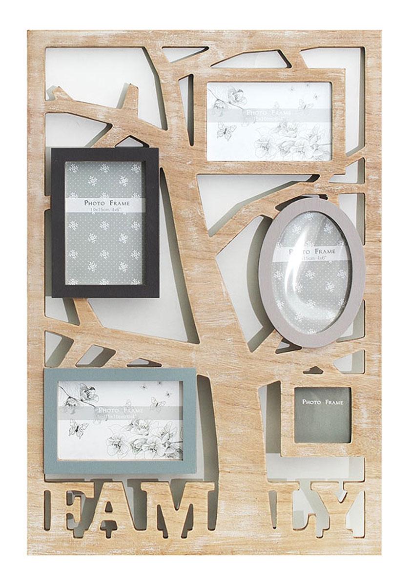 Фоторамка комбинированная Белоснежка Family, на 5 фотографий рамки бумажные для фото купить