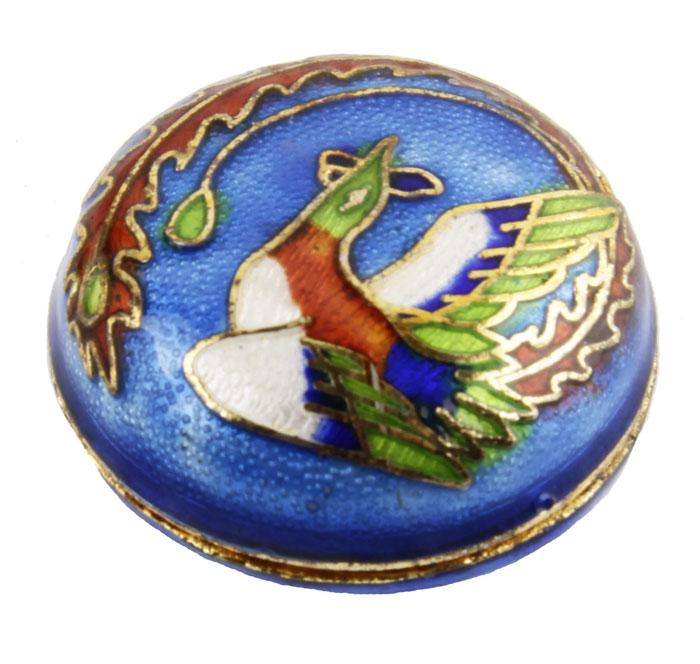 Шкатулка-таблетница Чудо-птица в восточном стиле. Латунь, перегородчатая эмаль. Китай, вторая половина XX века