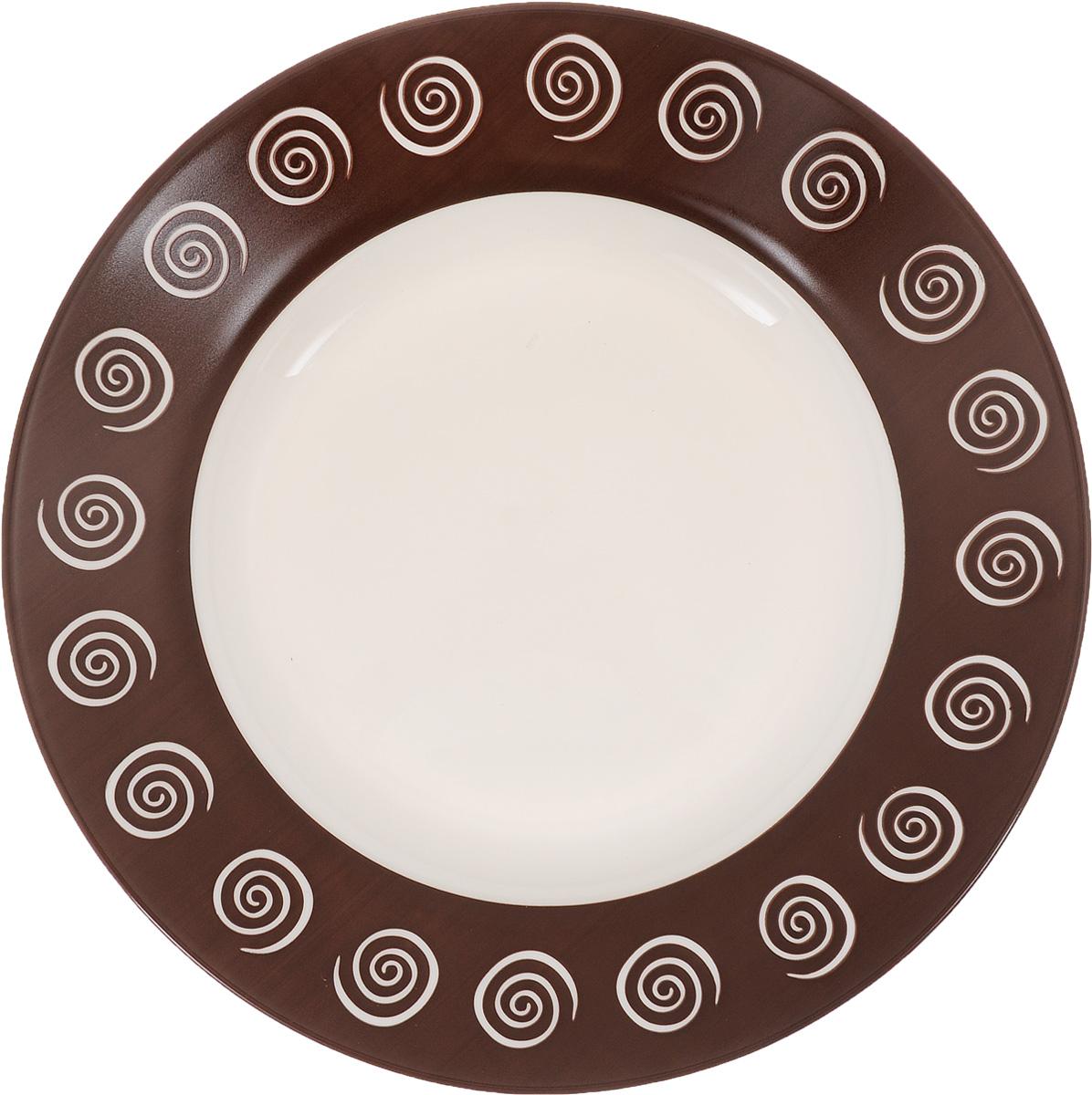 Тарелка глубокая Luminarc Sirocco, цвет: темно-коричневый, белый, диаметр 22 смH4886Глубокая тарелка Luminarc Sirocco выполнена изударопрочного стекла и оформлена ярким рисунком.Изделие сочетает в себе изысканный дизайн с максимальнойфункциональностью. Она прекрасно впишется винтерьер вашей кухни и станет достойным дополнениемк кухонному инвентарю. Тарелка Luminarc Sirocco подчеркнет прекрасный вкус хозяйкии станет отличным подарком. Диаметр (по верхнему краю): 22 см.Высота тарелки: 3 см.