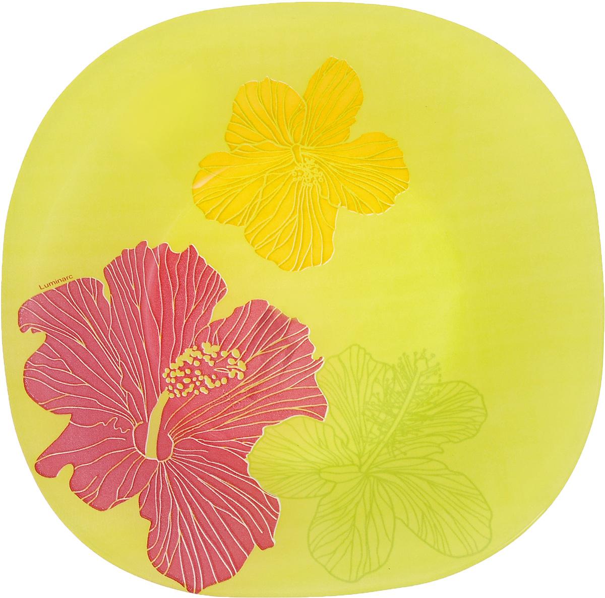 """Глубокая тарелка Luminarc """"Hibiscus"""" выполнена изударопрочного стекла и оформлена ярким рисунком.Изделие сочетает в себе изысканный дизайн с максимальнойфункциональностью. Она прекрасно впишется винтерьер вашей кухни и станет достойным дополнениемк кухонному инвентарю. Тарелка Luminarc """"Hibiscus"""" подчеркнет прекрасный вкус хозяйкии станет отличным подарком. Размер (по верхнему краю): 20 х 20 см.Высота тарелки: 3,2 см."""