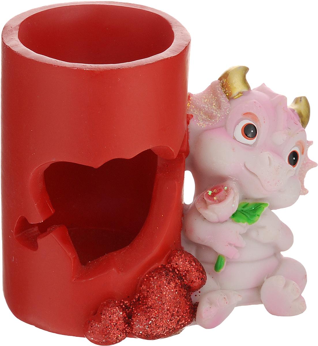 Статуэтка декоративная Lunten Ranta Розовый дракончик с розой, с подставкой для ручек новогоднее украшение баннер lunten ranta с новым годом длина 100 см