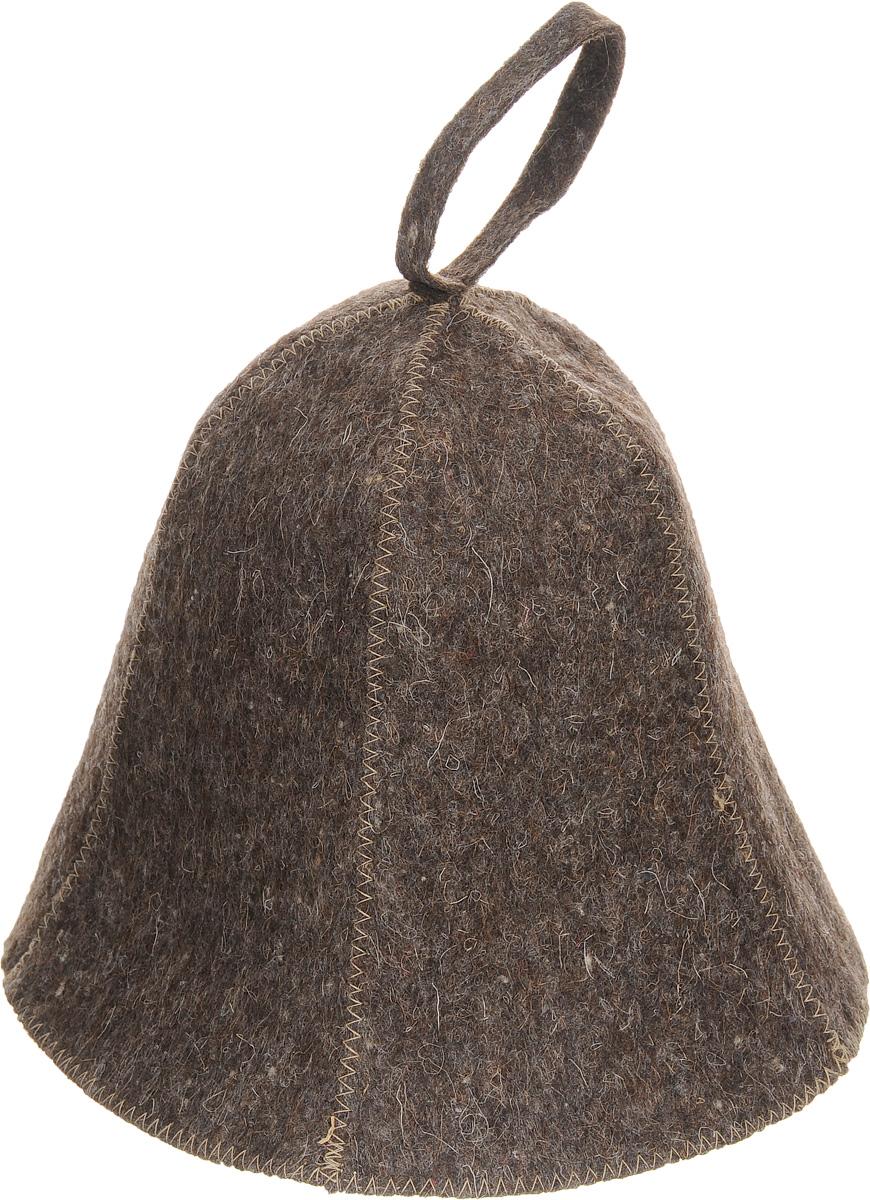 Шапка для бани и сауны Proffi Sauna, цвет: коричневыйPS0177Шапка для бани и сауны Proffi Sauna, изготовленная из войлока, это незаменимый аксессуар для любителей попариться в русской бане и для тех, кто предпочитает сухой жар финской бани. Шапка защитит вас от появления головокружения в бане, ваши волосы от сухости и ломкости, а голову от перегрева. Такая шапка станет отличным подарком для любителей отдыха в бане или сауне. Обхват головы: 76 см.Высота шапки (без учета петельки): 21 см.