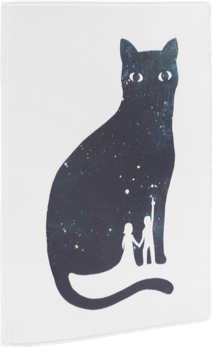 Обложка для паспорта Mitya Veselkov Космическая кошка, цвет: белый, черный, розовый. OZAM261