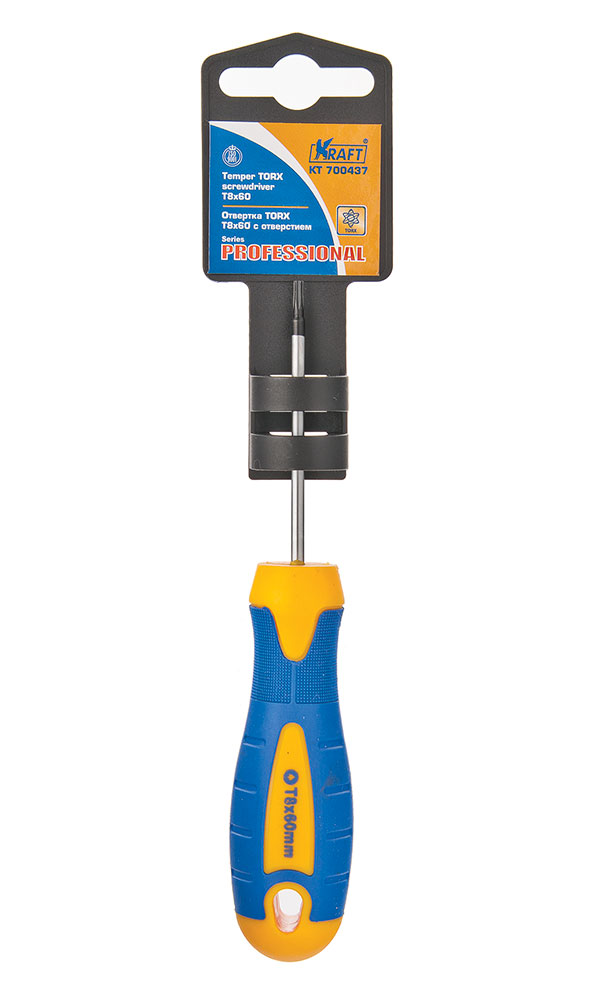 Отвертка Kraft Professional, Т8 х 60 мм. КТ 700437КТ 700437Шестигранная отвертка Kraft Professional с типом наконечника звезда применяется для откручивания и затяжки винтов. Жало выполнено из хромованадиевой стали. Пластиковая рукоятка снабжена противоскользящими накладками и отверстием для подвеса. Удобная двухкомпонентная рукоятка придает комфорт и легкость работе. Рукоятка имеет прямую форму, благодаря чему удобна для работы в ограниченном пространстве.Размер: Т8.Длина рабочей части: 6 см.Общая длина: 14,5 см.