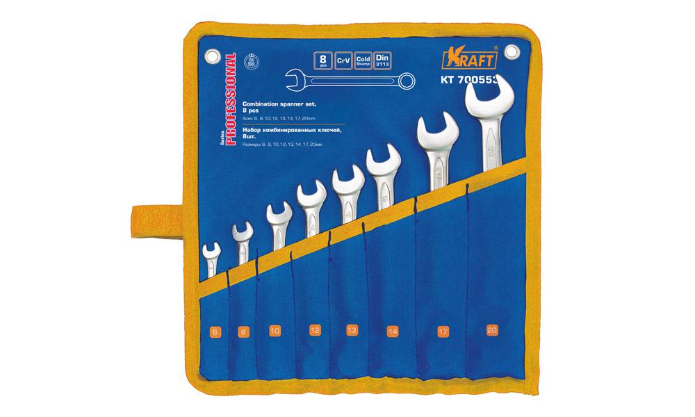 Набор ключей комбинированных Kraft Professional, 8 предметовКТ 700553Набор комбинированных ключей Kraft Professional станет отличным помощником монтажнику или владельцу авто. Этот набор обеспечит надежную фиксацию на гранях крепежа. Ключи изготовлены из хромованадиевой стали. Профиль кольцевого зева имеет 12 граней, что увеличивает площадь соприкосновения рабочих поверхностей и снижает риск деформации граней крепежа при монтаже. В набор входят:Сумка для ключей;Ключи на 6, 8, 10, 12, 13, 14, 17, 20 мм.