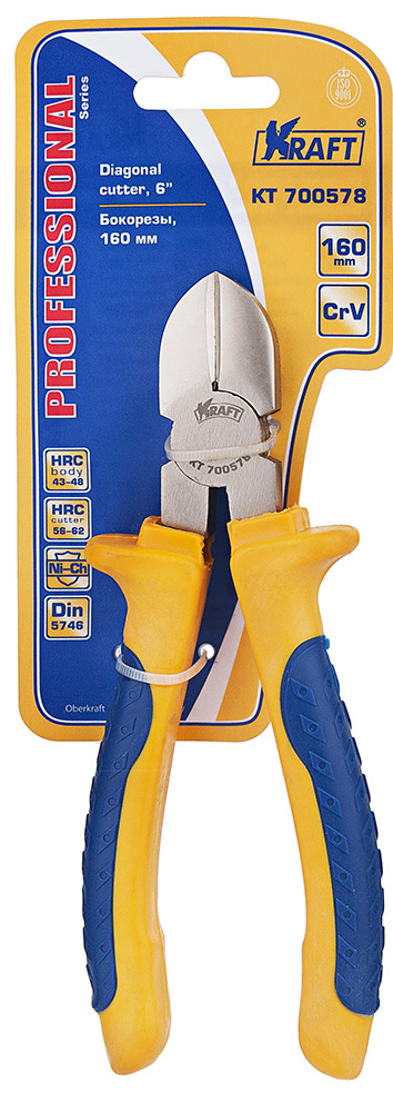 Бокорезы Kraft 160 мм КТ 700578КТ 700578- Cr-V, двухкомпонентная рукоятка