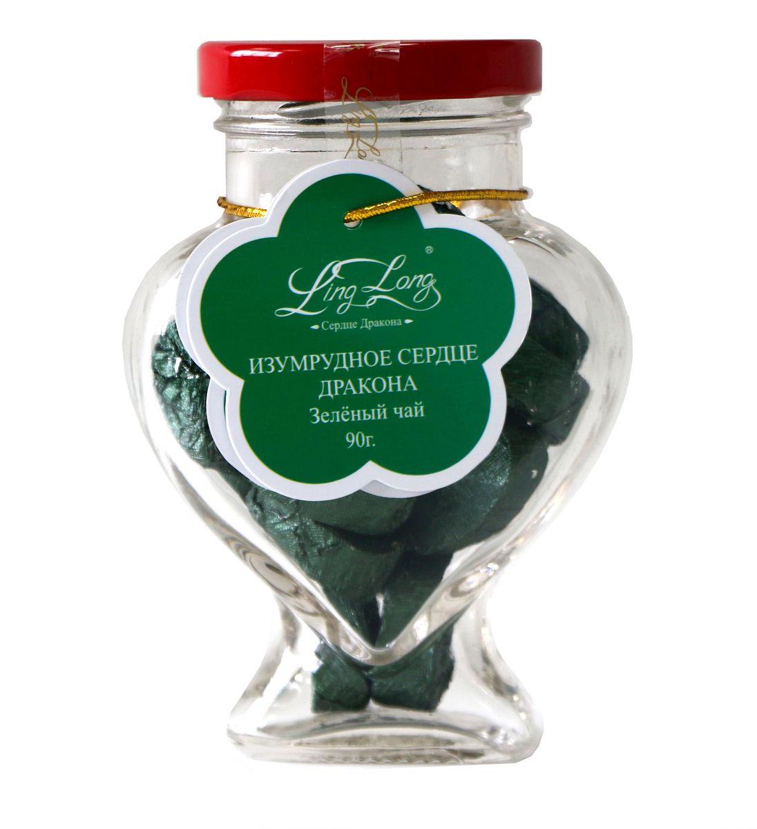 Ling Long Изумрудное сердце дракона зеленый листовой чай, 90 г (стеклянная банка)LL501Чай зеленый байховый китайский крупнолистовой Ling Long Изумрудное сердце дракона. Спрессован в форме сердечек. Такой чай станет отличным подарком друзьям или близким.