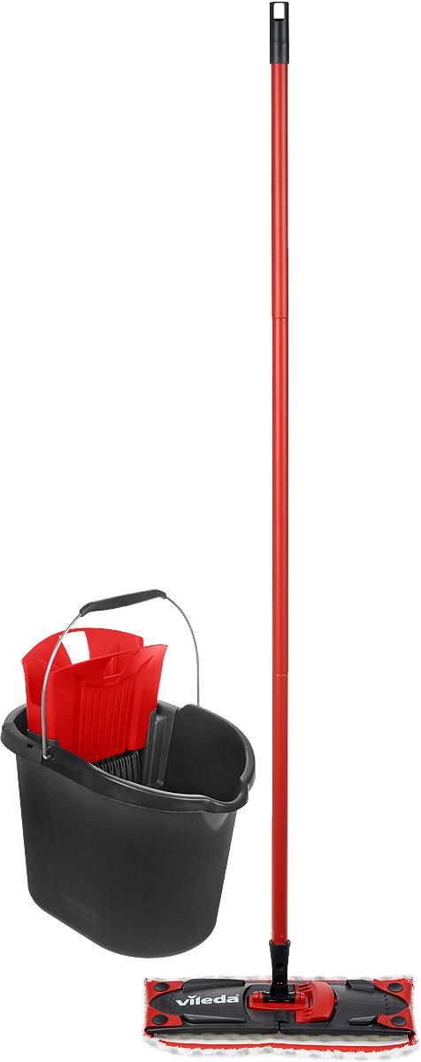 Набор для уборки Vileda Ultramat Microfibre, цвет: черный, красный, 2 предмета8137431_черный, красныйШвабра Vileda Ultramat Microfibre с насадкой из микрофибры широко используется для сухой и влажной уборки любых напольных поверхностей. Благодаря уникальным свойствам микрофибры сухая насадка легко удаляет пыль и в три раза лучше впитывает влагу, чем обычный хлопок. Подошва швабры складывается. Алюминиевая ручка удобно и надежно будет лежать в руке. Ручка разборная. Ведро Vileda Ultramat Microfibre, предназначенное для выжимания плоских швабр, порадует практичных хозяек.Изготовлено из крепкого, утолщенного пластика с металлической ручкой. Оно не опрокидывается и прослужит долго время. Набор Vileda Ultramat Microfibre - лучший помощник в доме! Длина швабры: 120 см.Размеры насадки: 35 х 10 х 1,5 см.Размеры ведра: 38 х 25 х 28 см.