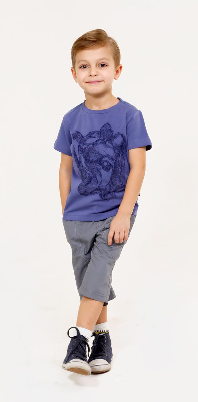 Футболка для мальчика Gino de Luka, цвет: синий. SS16-CFU-BTS-081. Размер 110/116 фуфайка футболка д мальчиков gdl арт ss16 cfu bts 076 синий р 98 104 1122697