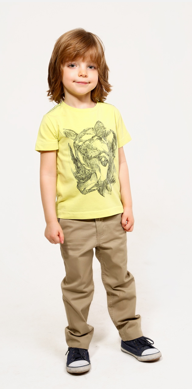 Футболка для мальчика Gino de Luka, цвет: желтый, темно-серый. SS16-CFU-BTS-081. Размер 122/128 фуфайка футболка д мальчиков gdl арт ss16 cfu bts 076 синий р 98 104 1122697