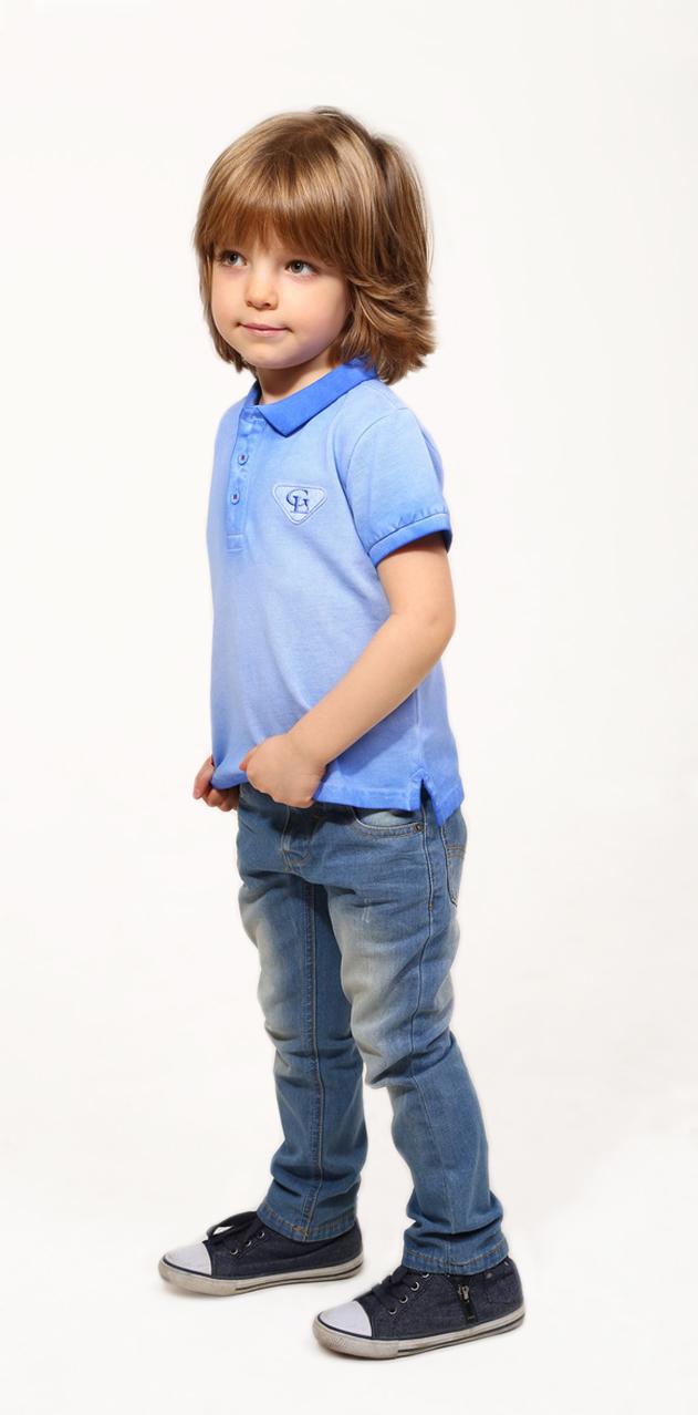 Поло для мальчика Gino de Luka, цвет: голубой. SS16-CFU-BTS-090. Размер 122/128 фуфайка футболка д мальчиков gdl арт ss16 cfu bts 076 синий р 98 104 1122697