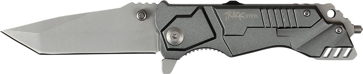 Нож складной Track Steel. 55461025546102Складной нож Track Steel всегда найдет себе применение на даче или в гараже, на рыбалке или охоте. Малые габариты делают его удобным при частой транспортировке. Лезвие выполнено из высококачественной нержавеющей стали. Изделие имеет удобную рукоятку. Нож снабжен прочным чехлом из нейлона.Длина клинка: 78 мм.Толщина клинка: 3,1 мм.Общая длина ножа: 200 мм.