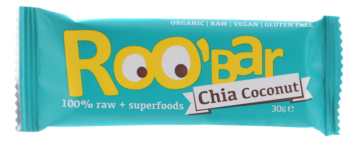 ROOBAR Chia & Coconut Organic батончик, 30 г corny milk cocoa батончик злаковый c молоком и какао 30 г