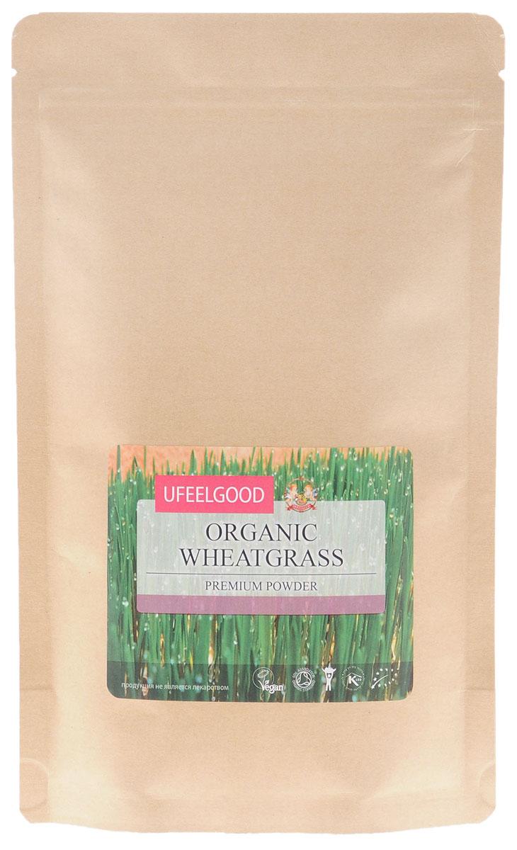 UFEELGOOD Organic Wheatgrass Premium Powder органические ростки пшеницы молотые, 200 г ufeelgood organic black sesame seeds органический черный кунжут 200 г