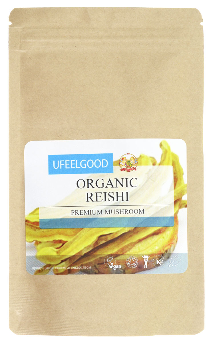 UFEELGOOD Organic Reishi Premium Mushroom Powder органический гриб рейши молотый, 100 г ufeelgood organic chia seeds protein powder органический чиа протеин 200 г