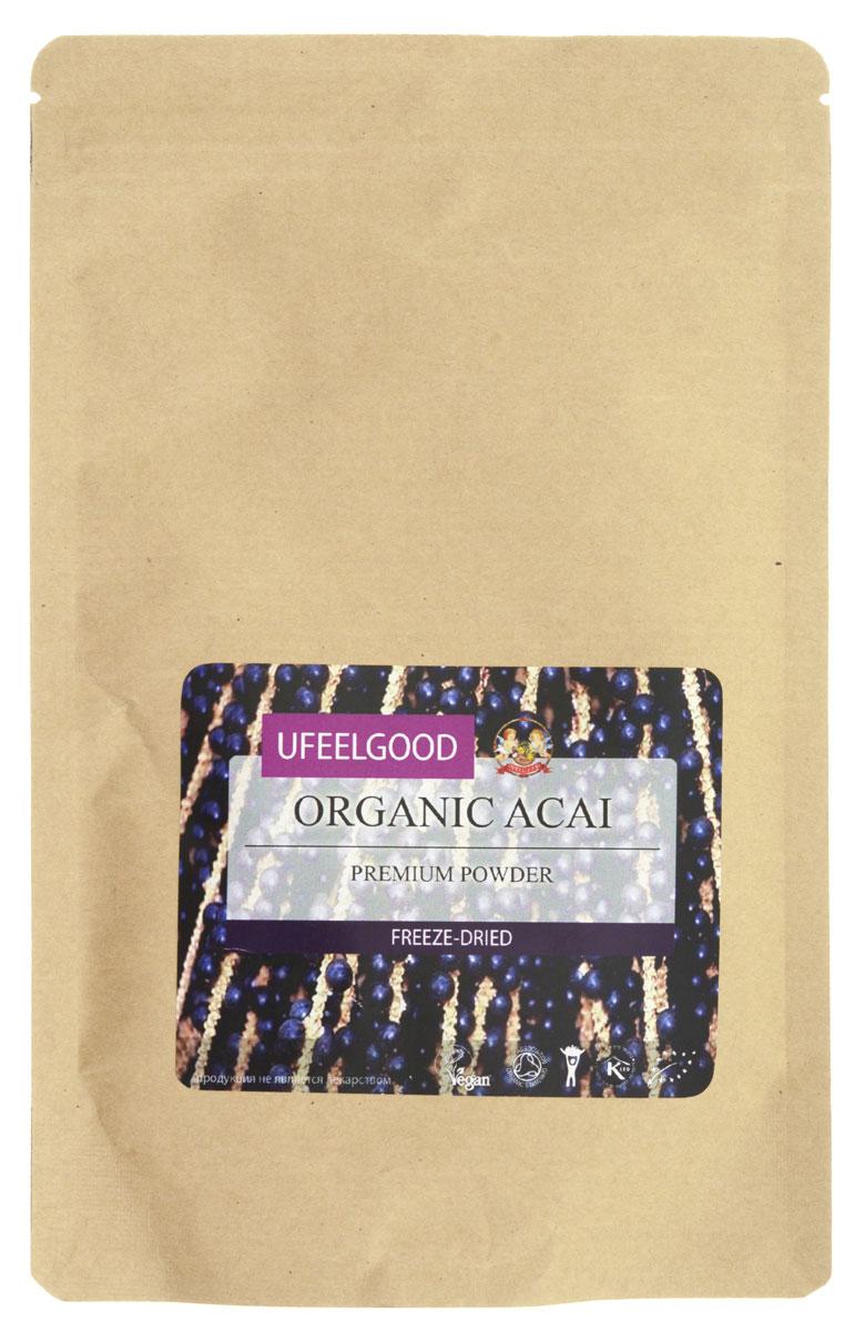 UFEELGOOD Organic Acai Premium Powder органические молотые ягоды асаи, 100 г ufeelgood organic hemp premium seeds конопляные семена очищенные 150 г