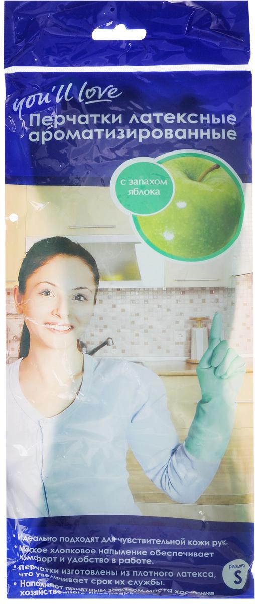 Перчатки латексные ароматизированные Youll love, аромат яблока. Размер S60318_ sПерчатки латексные ароматизированные Youll love с хлопковым напылением защищают ваши руки от загрязнений, воздействия моющих и чистящих средств. Приятный аромат при использовании и в местах хранения. Плотный латекс увеличивает срок службы перчаток. Рифленая поверхность в области ладони защищает от скольжения.