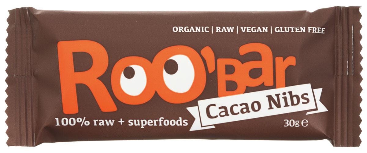 ROOBAR Cacao Nibs Organic батончик, 30 г