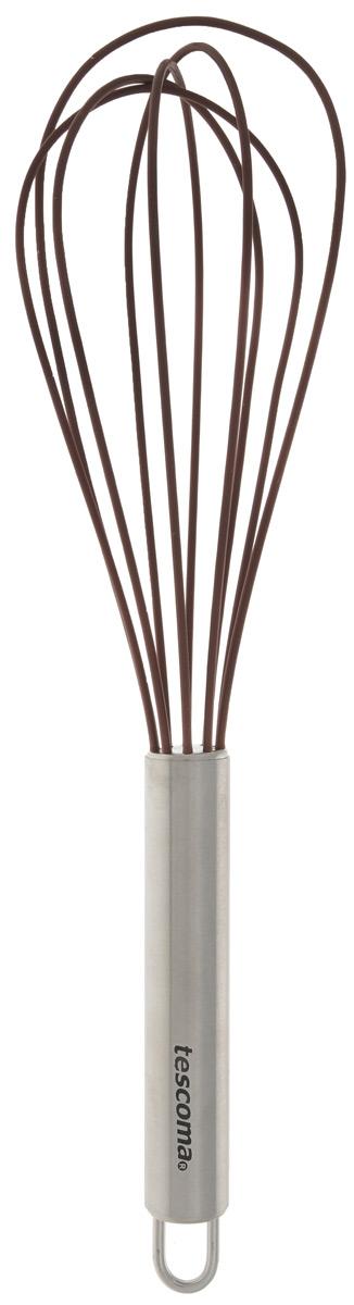 Венчик силиконовый Tescoma Delicia, цвет: коричневый, длина 25 см630262_коричневыйВенчик Tescoma Delica изготовлен из первоклассной нержавеющей стали и жароупорного силикона. Предназначен для взбивания и обработки холодных и горячих блюд в посуде с антипригарным покрытием, в посуде из полированной нержавеющей стали, фарфора, керамики - не повреждает поверхность. Удобная ручка не позволит выскользнуть венчику из вашей руки, сделает приятным процесс приготовления любого блюда. На ручке имеется петелька, за которую изделие можно подвесить в любом удобном для вас месте. Практичный и удобный венчик Tescoma Delica займет достойное место среди аксессуаров на вашей кухне.Можно мыть в посудомоечной машине.Длина венчика: 25 см.Размер рабочей поверхности: 6,5 см х 15 см.