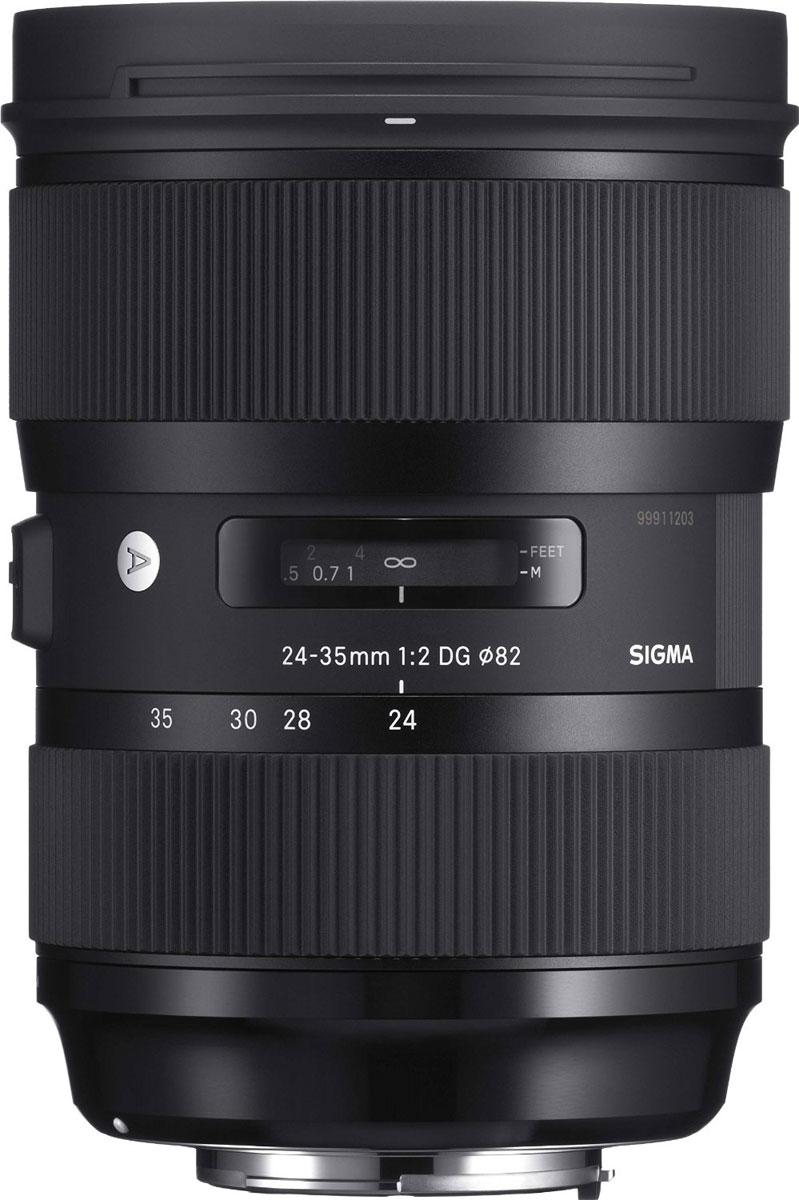 Sigma AF 24-35mm f/2.0 DG HSM объектив для Canon588954Sigma AF 24-35mm f/2.0 DG HSM - светосильный полноформатный широкоугольный зум-объектив с постоянной диафрагмой. Обладая оптическими характеристиками, свойственными фикс-объективам серии Art, этот объектив покрывает фокусные расстояния 24мм, 28мм и 35мм, и выдающееся качество изображения дополняется удобством обычного зум-объектива.Объектив имеет минимальную дистанцию фокусировки 28 см и максимальный масштаб 1:4.4, что делает его отличным решением для предметной и портретной съемки с высокохудожественным боке, а также для пейзажной фотографии с глубоким фокусом. Теперь фотографу нет необходимости менять широкоугольные объективы на камере, чтобы изменить угол обзора.Объектив содержит асферический элемент большого диаметра, требующий применения самых передовых технологий, один элемент из FLD стекла и 7 элементов из SLD стекла, два из которых асферические. Передовая оптика и оптимизированная оптическая схема минимизируют сферические аберрации, хроматические искажения и искажения по краям кадра, гарантируя впечатляющее качество изображения даже на открытой диафрагме.Внешняя линза объектива не вращается благодаря системе внутренней фокусировки, что делает возможным применение поляризационных фильтров и повышает общую стабильность объектива. Ультразвуковой мотор фокусировки HSM обеспечивает быструю и тихую автофокусировку.Благодаря новому переработанному алгоритму автофокусировка теперь происходит более плавно. Есть функция доводки фокуса вручную (full-time MF) вращением кольца фокусировки, что делает фокусировку более точной. Девятилепестковая диафрагма создает красивое размытие зон изображения, находящихся вне фокуса.Объектив оснащен латунным байонетом. Поверхность байонета упрочнена специальным образом для увеличения его износостойкости.