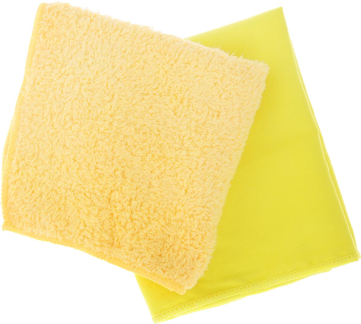 Набор салфеток для мытья и полировки автомобиля Sapfire Cleaning Сloth & Suede, цвет: желтый, оранжево-желтый, 35 х 40 см, 2 шт esley