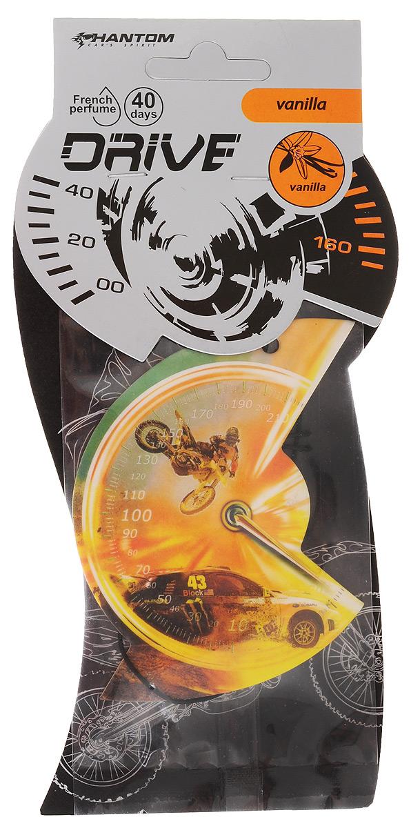Ароматизатор Phantom Drive, ваниль, цвет: оранжевый3552/01_оранжевый, машинаАроматизатор Phantom Drive с ароматом ванили выполнен в эксклюзивном дизайне в виде спидометра автомобиля. Благодаря насыщенному аромату неприятные запахи эффективно нейтрализуются. Ароматизатор оснащен подвесным типом крепления. Аромат держится до 40 дней.