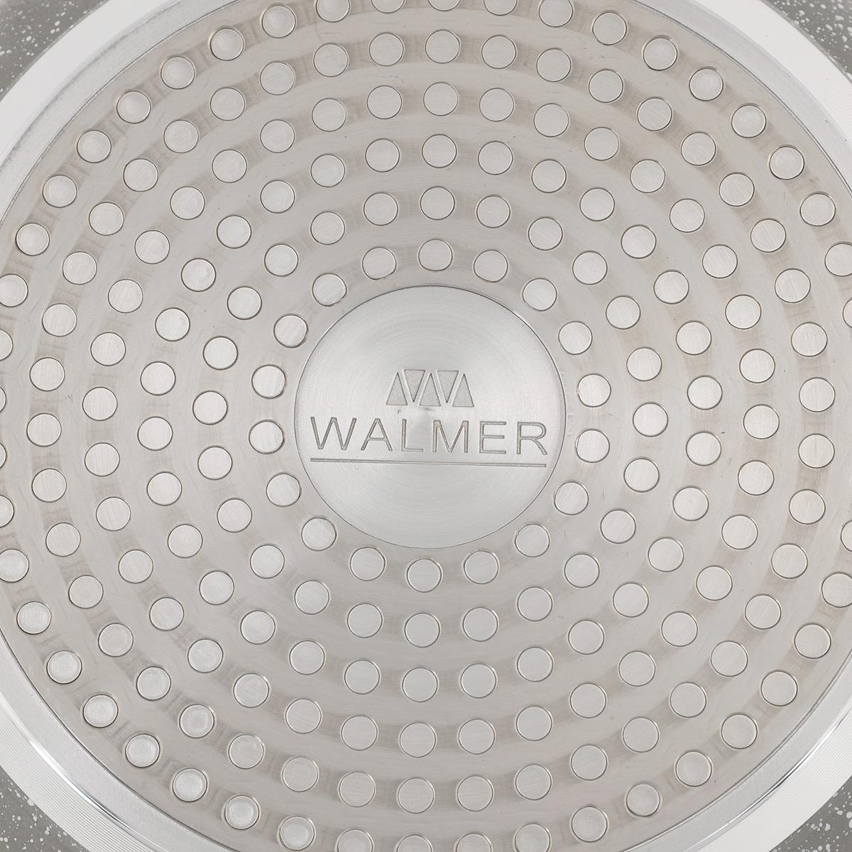 """Сковорода Walmer """"Stonehenge"""" изготовлена из кованого алюминия с антипригарным  покрытием Marble Coating, обеспечивающим быстрый и равномерный нагрев. Кроме того, с  таким  покрытием пища не  пригорает и не прилипает к стенкам, поэтому можно готовить с минимальным добавлением  масла и жиров. Эргономичная ручки из бакелита не нагревается и обеспечивает  непревзойдённый комфорт и удобство во время готовки.  Дно и стенки очень прочные, не подвержены деформации.  Подходит для всех типов плит, включая индукционные. Диаметр по верхнему краю: 20 см. Высота стенки: 4,5 см.  Толщина стенки: 3 мм. Толщина дна: 3 мм. Длина ручки: 21 см."""