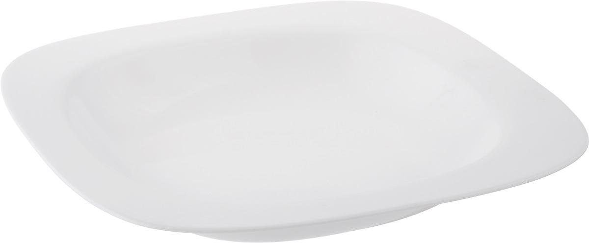 Тарелка глубокая Luminarc Squera, 23 х 23 смH0350Глубокая тарелка Luminarc Squera выполнена изударопрочного стекла белого цвета.Изделие сочетает в себе изысканный дизайн с максимальной функциональностью. Она прекрасно впишется в интерьер вашей кухни и станет достойным дополнениемк кухонному инвентарю. Тарелка Luminarc Squera подчеркнет прекрасный вкус хозяйки и станет отличным подарком. Размер (по верхнему краю): 23 х 23 см.