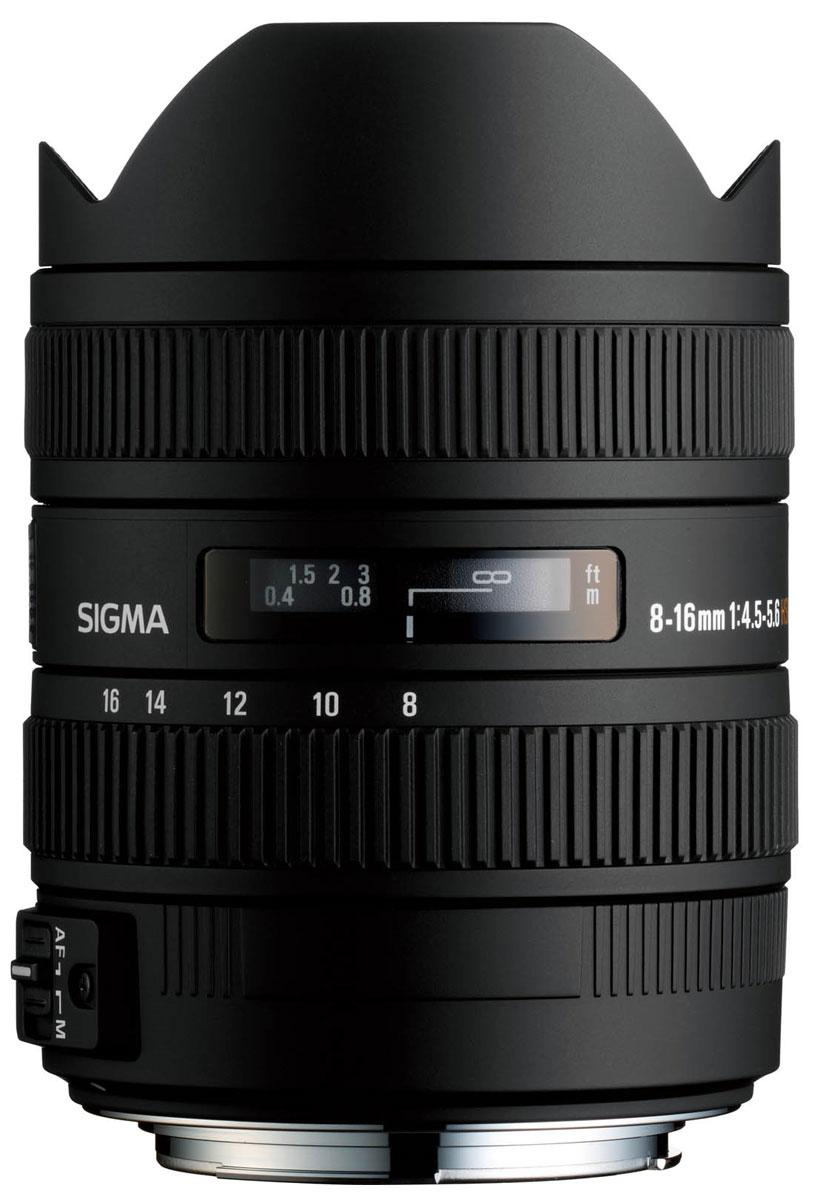 Sigma AF 8-16mm f/4.5-5.6 DC HSM объектив для Nikon F203955Sigma AF 8-16mm f/4.5-5.6 DC HSM - объектив с минимальным фокусным расстоянием 8 мм, созданный специально для неполнокадровых цифровых зеркальных камер. Модель имеет огромное поле зрения, что, вкупе с его способностью усиливать перспективу, открывает фотографу невероятные творческие возможности. С учетом кроп-фактора диапазон фокусных расстояний объектива охватывает уникальные широкоугольные значения 12 – 24 мм в 35-мм эквиваленте.Объектив формирует круг изображения, в точности соответствующий площади сенсора формата APS-C. Уменьшение круга изображения позволило сделать объектив сравнительно легким и компактным для своих характеристик, благодаря чему Sigma AF 8-16mm f/4.5-5.6 DC HSM сможет с удобством отправиться со своим владельцем в любую поездку или путешествие. А надежная и прочная конструкция объектива (его корпус выполнен по преимуществу из металла) позволит ему с успехом преодолеть все трудности.Стекло FLD обеспечивает минимальный возможный на сегодняшний день уровень дисперсии и максимально высокое светопропускание, а также высокую аномальную дисперсию. Благодаря своим параметрам элементы из такого материала максимально эффективно исправляют хроматическую аберрацию, в том числе аберрацию во вторичном спектре, которую практически невозможно устранить посредством других линз. Кроме того оптическая схема объектива включает три асферические линзы (две литые и одну гибридную), которые обеспечивают коррекцию дисторсии и астигматизма.Автофокусировка осуществляется при помощи ультразвукового привода HSM. Это делает процесс наведения резкости точным, быстрым и практически бесшумным. При необходимости, пользователь прямо в режиме автофокуса может вручную подправить установленную автоматически резкость. Благодаря системе внутренней фокусировки, общая длина объектива в процессе съемки не изменяется, что увеличивает удобство эксплуатации.