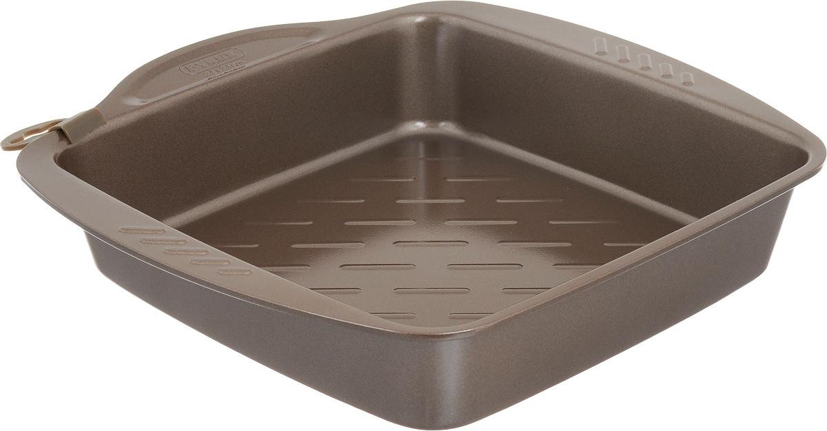 """Форма для запекания Pyrex """"Metal Asimetria"""" изготовлена из углеродистой стали с антипригарным покрытием на всей поверхности. Изделие не содержит примесей PFOA, а также кадмия и свинца, поэтому абсолютно безопасно для использования. Форма снабжена тремя удобными ручками. Пища в такой форме не пригорает и не прилипает к стенкам, готовое блюдо легко вынимается. Изделие прекрасно подойдет для выпечки и запекания. Такая форма станет полезным приобретением для вашей кухни. Можно мыть в посудомоечной машине и использовать в духовке при температуре до 230°С. Внутренний размер формы: 24 х 24 см. Размер формы (с учетом ручек): 28 х 29 см. Высота стенки: 5 см."""