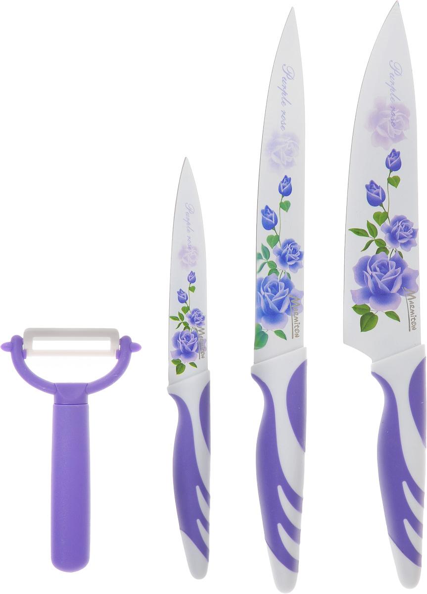 Подарочный набор ножей Marmiton, цвет: фиолетовый, белый, 4 предмета. 1703317033Подарочный набор ножей Marmiton включает 3 ножа (разделочный, поварской, универсальный) и овощерезку. Это оптимальный набор для обработки и приготовления любых продуктов. Лезвие каждого ножа выполнено из высокоуглеродистой нержавеющей стали, которая обеспечивает необходимую остроту нарезки. Кроме этого, на лезвие нанесено специальное керамическое покрытие, благодаря которому остатки продуктов не остаются на лезвии. Покрытие также защищает от окисления и препятствует размножению бактерий. Удобная ручка с прорезиненными вставками обеспечит необходимый комфорт при использовании. Красивый цветочный рисунок на лезвиях придает набору изысканный внешний вид. Не рекомендуется мыть в посудомоечной машине. Длина лезвия поварского ножа: 19,5 см. Общая длина поварского ножа: 33 см. Длина лезвия разделочного ножа: 19,5 см. Общая длина разделочного ножа: 33 см. Длина лезвия универсального ножа: 11,5 см. Общая длина универсального ножа: 23 см. Длина лезвия овощерезки: 4 см. Общая длина овощерезки: 12,5 см.