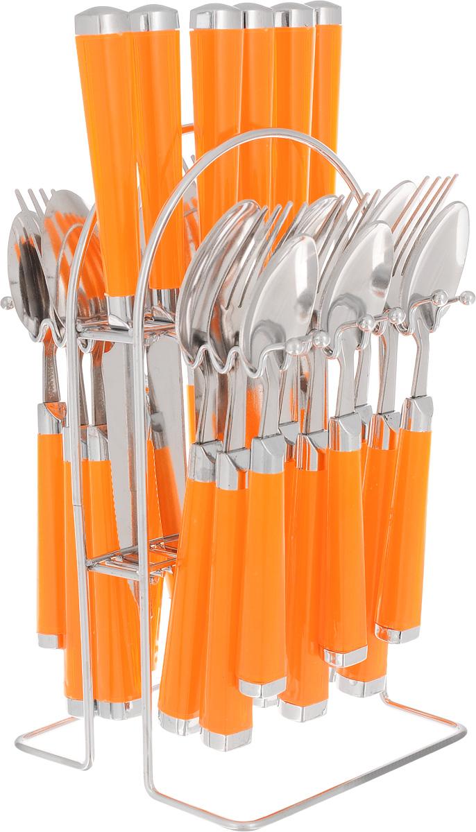 Набор столовых приборов Mayer&Boch, цвет: оранжевый, 25 предметов. Mayer&Boch-22488MB-22488Набор столовых приборов Mayer & Boch выполнен из высококачественной нержавеющей стали. В набор входит 25 предметов: 6 столовых ножей, 6 столовых ложек, 6 столовых вилок, 6 чайных ложек и подставка. Приборы имеют удобные пластиковые ручки. Прекрасное сочетание свежего дизайна и удобство использования предметов набора придется по душе каждому. Набор столовых приборов Mayer & Boch подойдет для сервировки стола, как дома, так и на даче и всегда будет важной частью трапезы, а также станет замечательным подарком. Длина ножей: 22 см. Длина ложек: 20 см.Длина вилок: 20 см. Длина чайных ложек: 17 см. Размер подставки: 13 х 13 х 23 см.