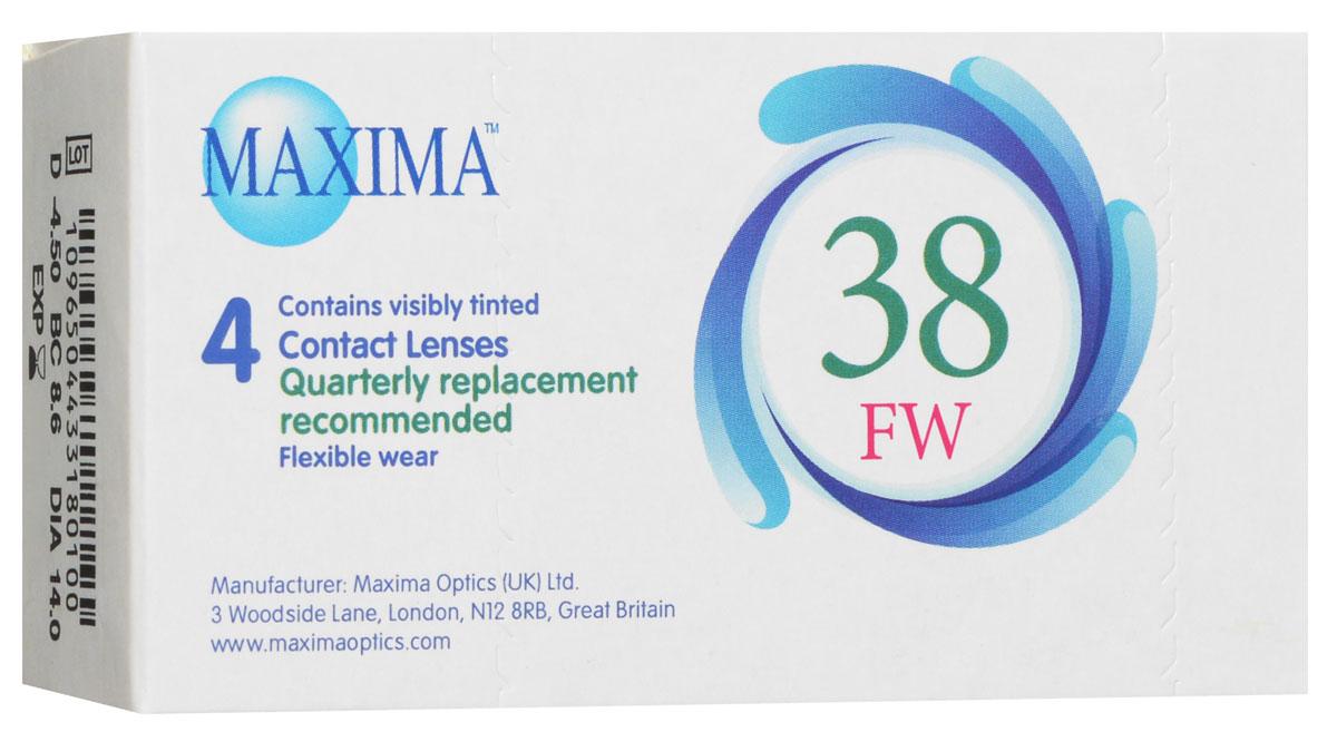Maxima контактные линзы 38 FW (4шт / 8.6 / -4.50)39516Линзы квартальной замены Maxima 38 FW обладают отличными клиническими характеристиками в сочетании с доступной ценой. Идеальны для перехода пациентов с традиционных линз к плановой замене. Ровный тонкий профиль края линзы Maxima 38 FW, незначительная толщина в центре обеспечивают комфорт ношения и улучшают кислородную проницаемость к роговице.Замена через 3 месяца. Характеристики:Материал: полимакон. Кривизна: 8.6. Оптическая сила: - 4.50. Содержание воды: 38%. Диаметр: 14 мм. Количество линз: 4 шт. Размер упаковки: 9,5 см х 5 см х 2 см. Производитель: США. Товар сертифицирован.Контактные линзы или очки: советы офтальмологов. Статья OZON Гид
