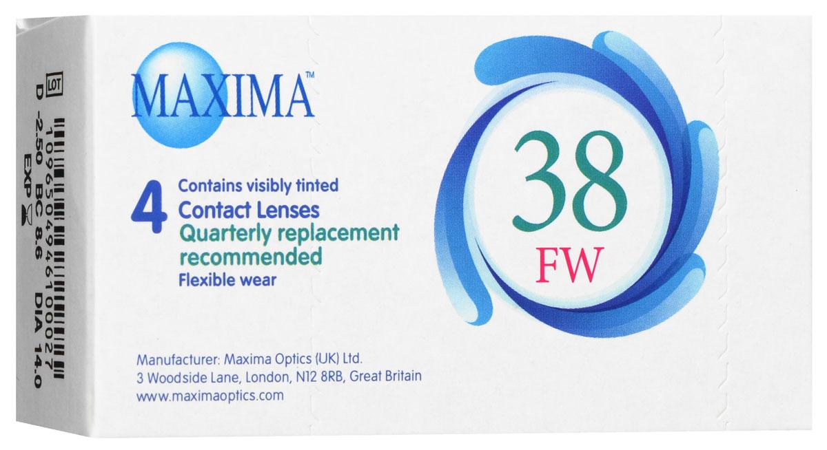 Maxima контактные линзы 38 FW (4 шт / 8.6 / -2.50)1010Линзы квартальной замены Maxima 38 FW обладают отличными клиническими характеристиками в сочетании с доступной ценой. Идеальны для перехода пациентов с традиционных линз к плановой замене. Ровный тонкий профиль края линзы Maxima 38 FW, незначительная толщина в центре обеспечивают комфорт ношения и улучшают кислородную проницаемость к роговице.Замена через 3 месяца. Характеристики:Материал: полимакон. Кривизна: 8.6. Оптическая сила: - 2.50. Содержание воды: 38%. Диаметр: 14 мм. Количество линз: 4 шт. Размер упаковки: 9,5 см х 5 см х 2 см. Производитель: США. Товар сертифицирован.Контактные линзы или очки: советы офтальмологов. Статья OZON Гид