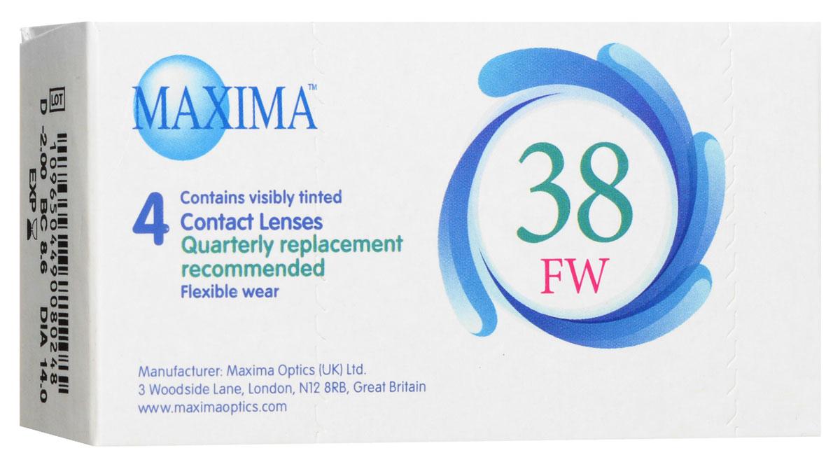 Maxima контактные линзы 38 FW (4 шт / 8.6 / -2.00)1012Линзы квартальной замены Maxima 38 FW обладают отличными клиническими характеристиками в сочетании с доступной ценой. Идеальны для перехода пациентов с традиционных линз к плановой замене. Ровный тонкий профиль края линзы Maxima 38 FW, незначительная толщина в центре обеспечивают комфорт ношения и улучшают кислородную проницаемость к роговице.Замена через 3 месяца. Характеристики:Материал: полимакон. Кривизна: 8.6. Оптическая сила: - 2.00. Содержание воды: 38%. Диаметр: 14 мм. Количество линз: 4 шт. Размер упаковки: 9,5 см х 5 см х 2 см. Производитель: США. Товар сертифицирован.Контактные линзы или очки: советы офтальмологов. Статья OZON Гид