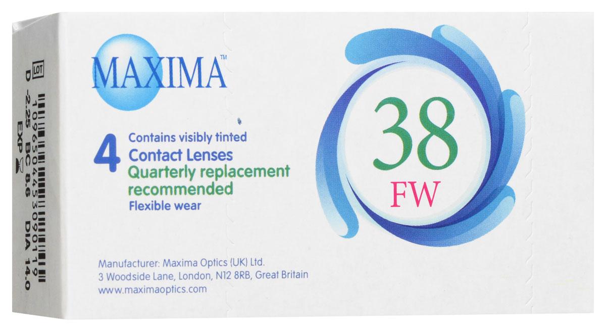 Maxima контактные линзы 38 FW (4 шт / 8.6 / -2.25)1011Линзы квартальной замены Maxima 38 FW обладают отличными клиническими характеристиками в сочетании с доступной ценой. Идеальны для перехода пациентов с традиционных линз к плановой замене. Ровный тонкий профиль края линзы Maxima 38 FW, незначительная толщина в центре обеспечивают комфорт ношения и улучшают кислородную проницаемость к роговице.Замена через 3 месяца. Характеристики:Материал: полимакон. Кривизна: 8.6. Оптическая сила: - 2.25. Содержание воды: 38%. Диаметр: 14 мм. Количество линз: 4 шт. Размер упаковки: 9,5 см х 5 см х 2 см. Производитель: США. Товар сертифицирован.Контактные линзы или очки: советы офтальмологов. Статья OZON Гид