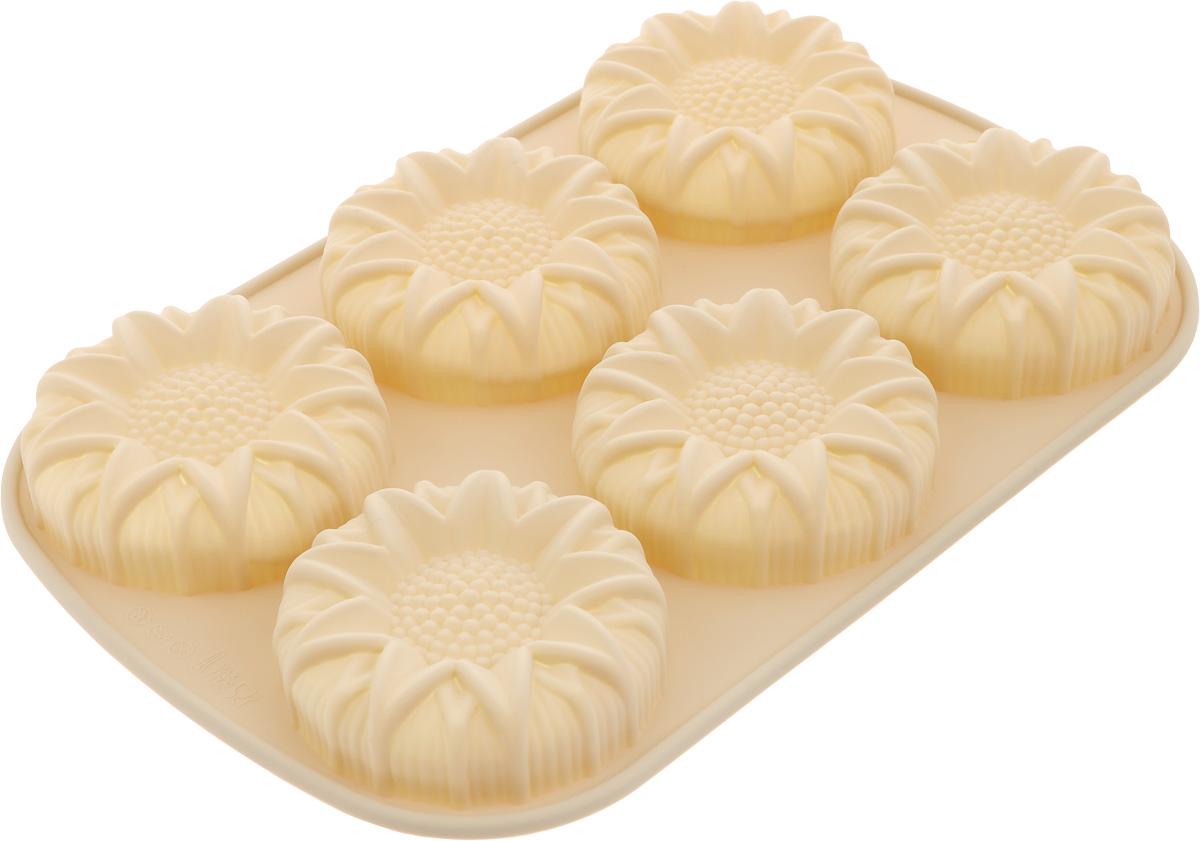 Форма для выпечки Calve, силиконовая, цвет: бежевый, 6 ячеек форма для выпечки calve силиконовая цвет салатовый диаметр 30 см