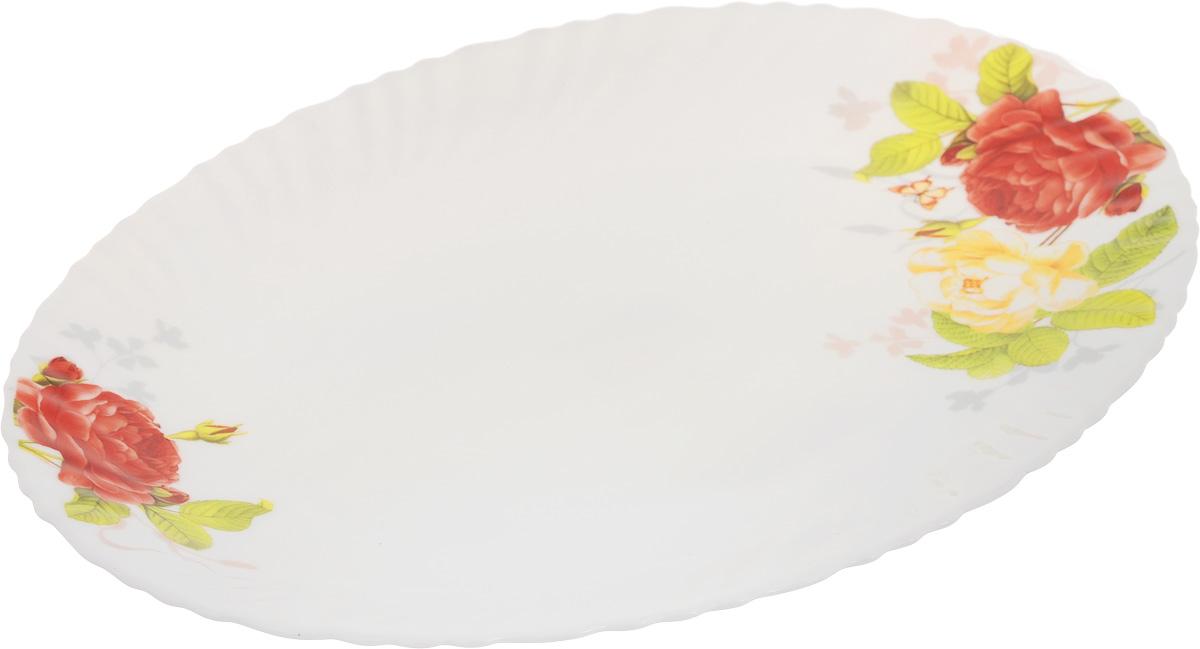 Блюдо Chinbull Рона, 30,5 х 22,5 смOLHYP-120/315Овальное блюдо Chinbull Рона, выполненное из высококачественной стеклокерамики, декорировано ярким изображением цветов. Изящный дизайн придется по вкусу и ценителям классики, и тем, кто предпочитает утонченность.Блюдо Chinbull Рона идеально подойдет для сервировки стола и станет отличным подарком к любому празднику.Размер блюда (по верхнему краю): 30,5 х 22,5 см.