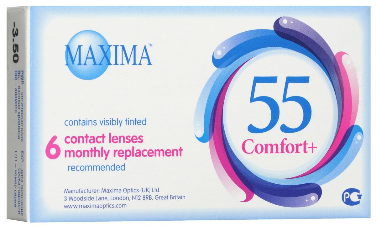 Maxima контактные линзы 55 Comfort Plus (6шт / 8.6 / -3.50)08928Контактные линзы Maxima 55 Comfort Plus - это линзы ежемесячной замены, имеющие асферический дизайн и изготовленные из биосовместимого материала. Эти контактные линзы разработаны специально для людей имеющих небольшую степень астигматизма, а также желающих ощущать чувство полного комфорта в течение целого дня. Асферическая поверхность контактной линзы помогает формировать более контрастное и четкое изображение. В Maxima 55 Comfort Plus все лучи, в том числе и проходящие через периферию, собираются вместе, тем самым минимизируя оптические искажения. Другим достоинством этих линз является материал из которого они изготовлены. Контактные линзы Maxima 55 Comfort Plus обладают низким уровнем образования отложений, превосходно удерживают воду и отлично пропускают кислород к роговице глаза. Все это стало возможно благодаря совершенно новому биосовместимому материалу, благодаря ему ношение контактных линз стало еще более удобным и комфортным. Замена через 1 месяц. Характеристики:Материал: хайоксифилкон А. Кривизна: 8.6. Оптическая сила: - 3.50. Содержание воды: 57%. Диаметр: 14,2 мм. Количество линз: 6 шт. Размер упаковки: 11 см х 1,5 см х 6,5 см. Производитель: Великобритания. Товар сертифицирован.Контактные линзы или очки: советы офтальмологов. Статья OZON Гид