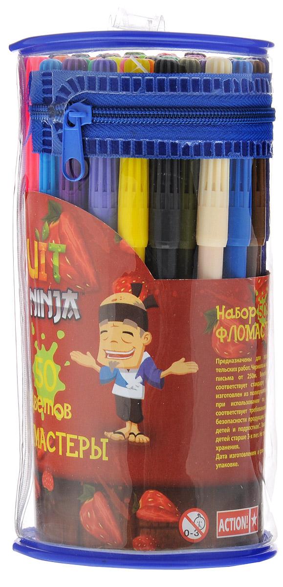 Action! Набор фломастеров Fruit Ninja 50 цветовFN-AWP105-50_2Фломастеры Action! Fruit Ninja, предназначенные для художественно-оформительских работ, обязательно порадуют вашего юного художника и помогут создать ему неповторимые и яркие картинки. Набор включает в себя 50 фломастеров ярких насыщенных цветов в разноцветных корпусах. Специальные чернила на водной основе легко смываются с кожи и удаляются с большинства тканей. Корпус фломастеров изготовлен из полипропилена, а вентилируемый колпачок увеличивает срок службы чернил и предотвращает их преждевременное высыхание.Рекомендуемый возраст: от 3 лет.