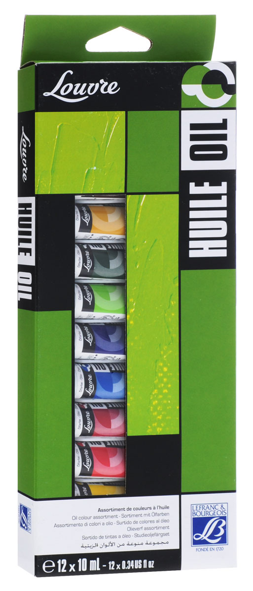 Краски масляные Lefranc & Bourgeois Louvre, 10 мл, 12 цветов масло льняное полимерезиновое lefranc