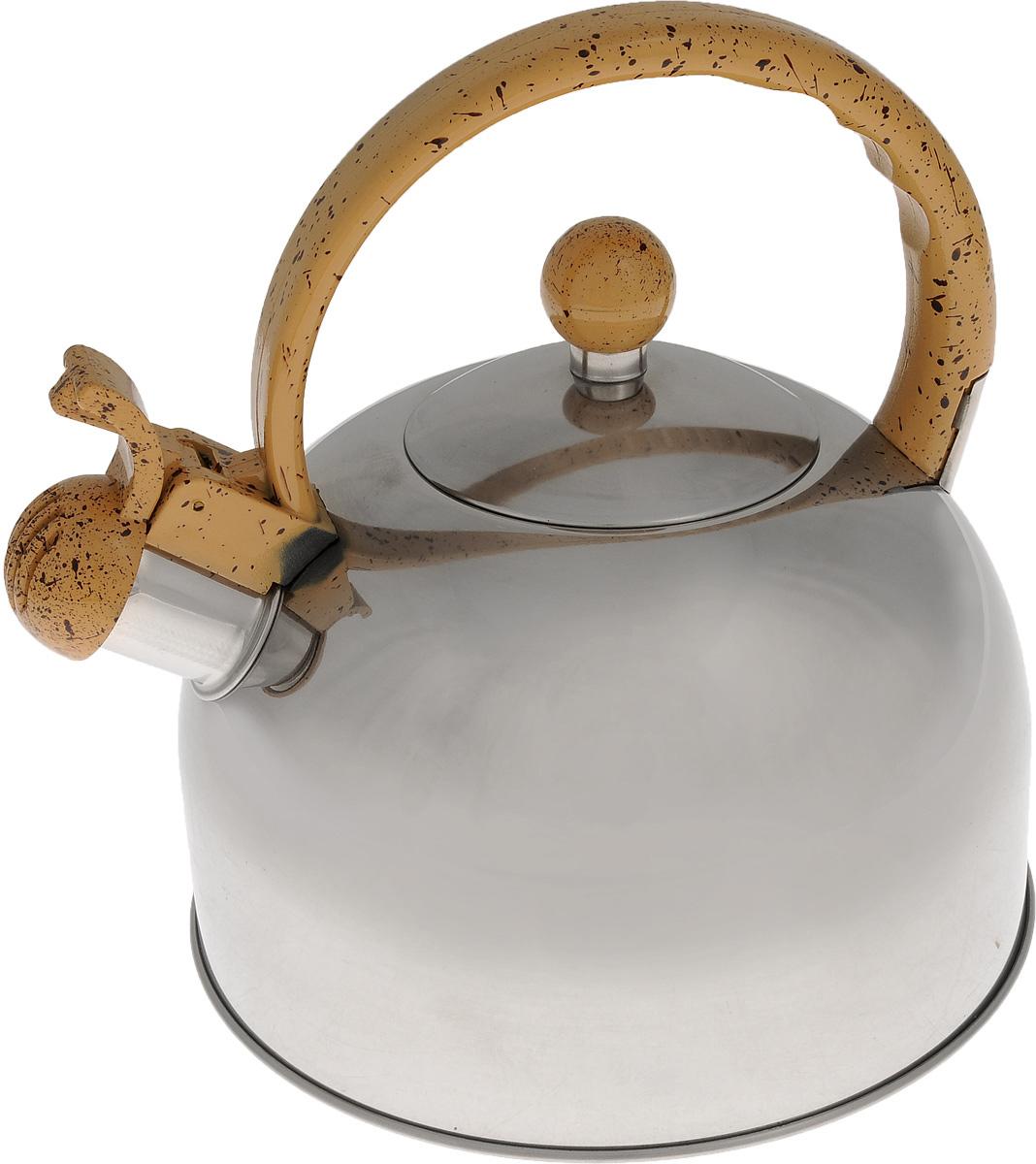 Чайник Bekker Koch со свистком, цвет: бежевый, 2,5 л. BK-S307BK-S307_бежевыйЧайник Bekker Koch выполнен из высококачественной нержавеющей стали, что обеспечивает долговечность использования. Внешнее зеркальное покрытие придает приятный внешний вид. Пластиковая фиксированная ручка, выполненная под мрамор, делает использование чайника очень удобным и безопасным. Чайник снабжен свистком и устройством для открывания носика. Изделие оснащено капсулированным дном для лучшего распространения тепла.Можно мыть в посудомоечной машине. Пригоден для всех видов плит кроме индукционных. Высота чайника (без учета крышки и ручки): 11,5 см.Диаметр основания: 19 см. Толщина стенки: 3 мм.