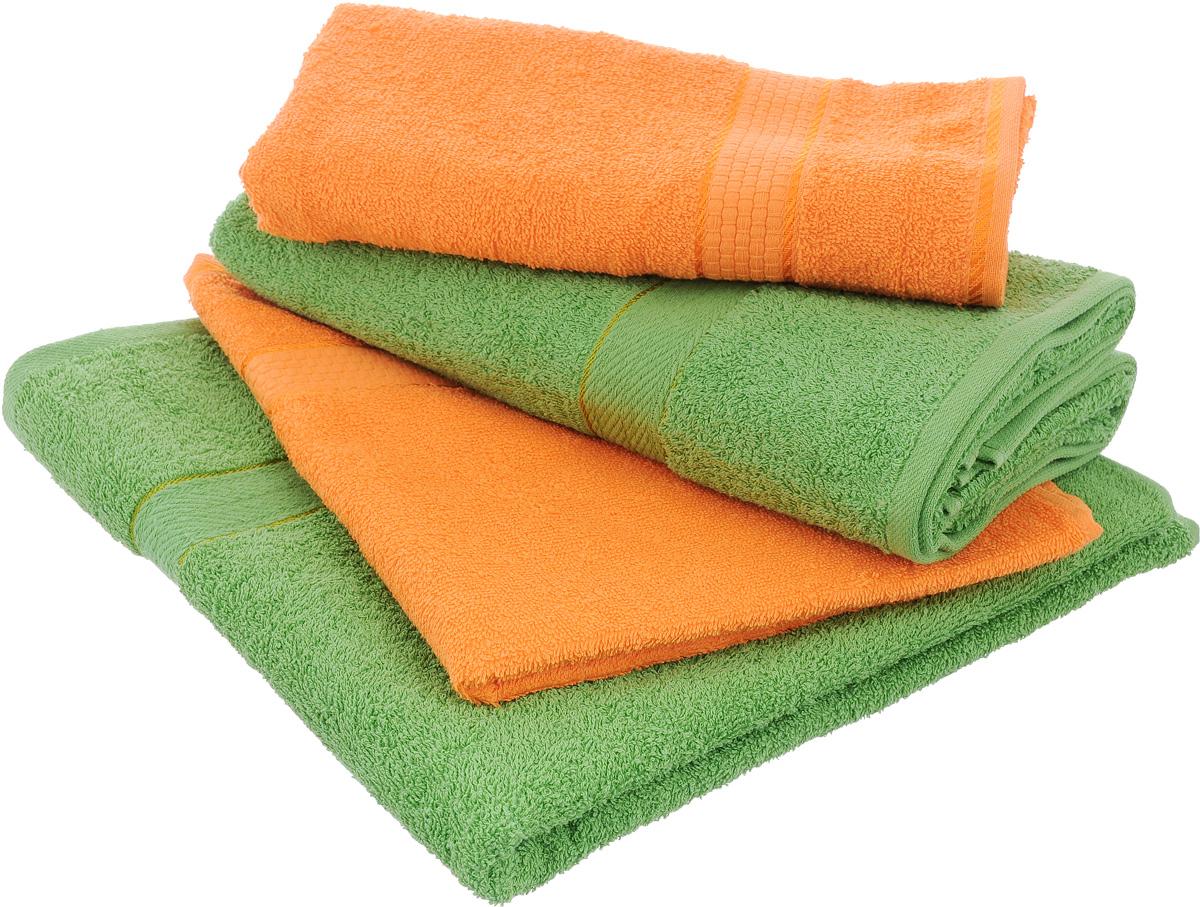 Набор махровых полотенец Aisha Home Textile, цвет: оранжевый, зеленый, 4 штУзТ-ПМ-103-27-08Набор Aisha Home Textile состоит из четырех полотенец,выполненных из натуральной махровой ткани (100% хлопка). Лаконичныебордюрыподойдут для любого интерьера ванной комнаты. Изделия отлично впитываютвлагу, быстро сохнут,сохраняют яркость цвета и не теряют формы даже после многократных стирок.Полотенца Aisha Home Textile очень практичны и неприхотливы в уходе. Комплектация: 4 шт.
