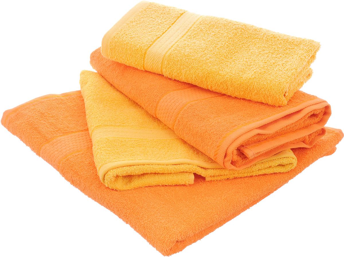 Набор махровых полотенец Aisha Home Textile, цвет: желтый, оранжевый, 4 штУзТ-ПМ-103-21-27Набор Aisha Home Textile состоит из четырех полотенец,выполненных из натуральной махровой ткани (100% хлопка). Лаконичныебордюрыподойдут для любого интерьера ванной комнаты. Изделия отлично впитываютвлагу, быстро сохнут,сохраняют яркость цвета и не теряют формы даже после многократных стирок.Полотенца Aisha Home Textile очень практичны и неприхотливы в уходе. Комплектация: 4 шт.