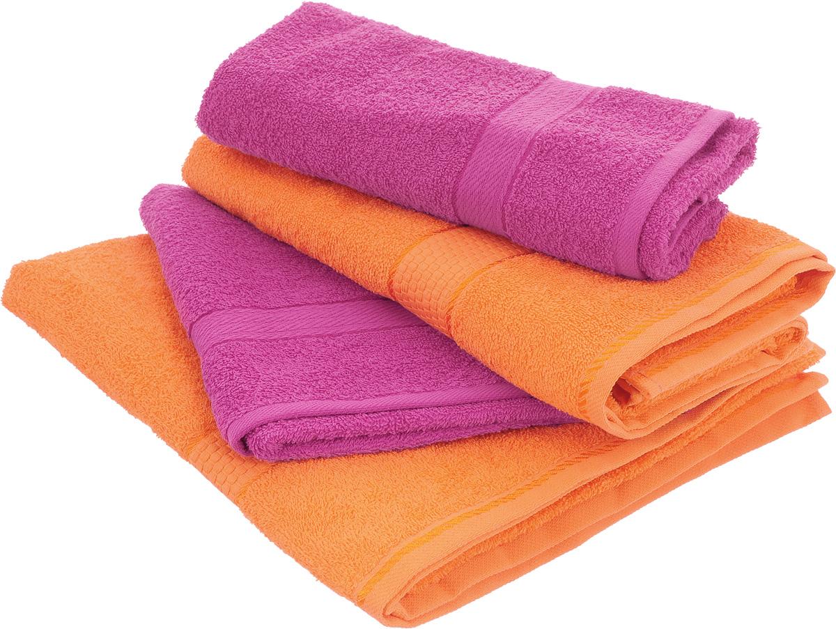 Набор махровых полотенец Aisha Home Textile, цвет: оранжевый, малиновый, 4 штУзТ-ПМ-103-28-27Набор Aisha Home Textile состоит из четырех полотенец,выполненных из натуральной махровой ткани (100% хлопка). Лаконичныебордюрыподойдут для любого интерьера ванной комнаты. Изделия отлично впитываютвлагу, быстро сохнут,сохраняют яркость цвета и не теряют формы даже после многократных стирок.Полотенца Aisha Home Textile очень практичны и неприхотливы в уходе. Комплектация: 4 шт.