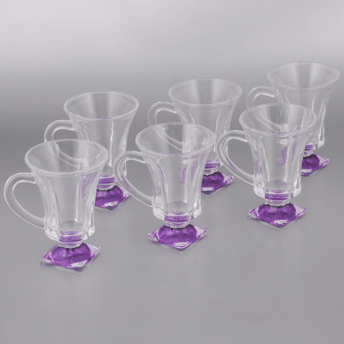 Набор стаканов для глинтвейна Loraine, цвет: прозрачный, сиреневый, 150 мл, 6 шт20220Набор Loraine состоит из шести стаканов, выполненных из прочного стекла. Предметы набора имеют цветную ножку и декорированы рельефом. Они излучают приятный блеск и издают мелодичный звон. Для удобства изделия оснащены изящной ручкой.Набор Loraine прекрасно оформит интерьер кабинета или гостиной и станет отличным дополнением бара. Такой набор также станет хорошим подарком к любому случаю. Диаметр стакана (по верхнему краю): 8 см.Высота стакана: 11 см.