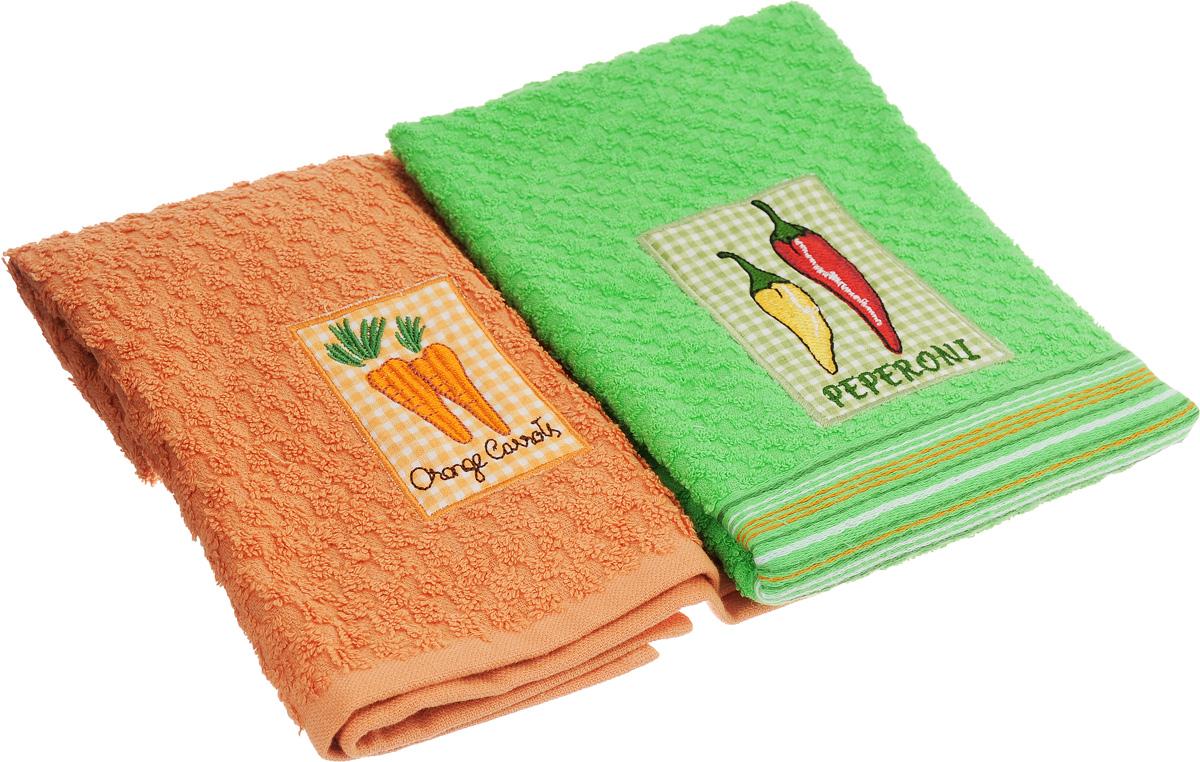 "Набор махровых полотенец Bonita ""Морковь. Перец"", 40 х 60 см, 2 шт"