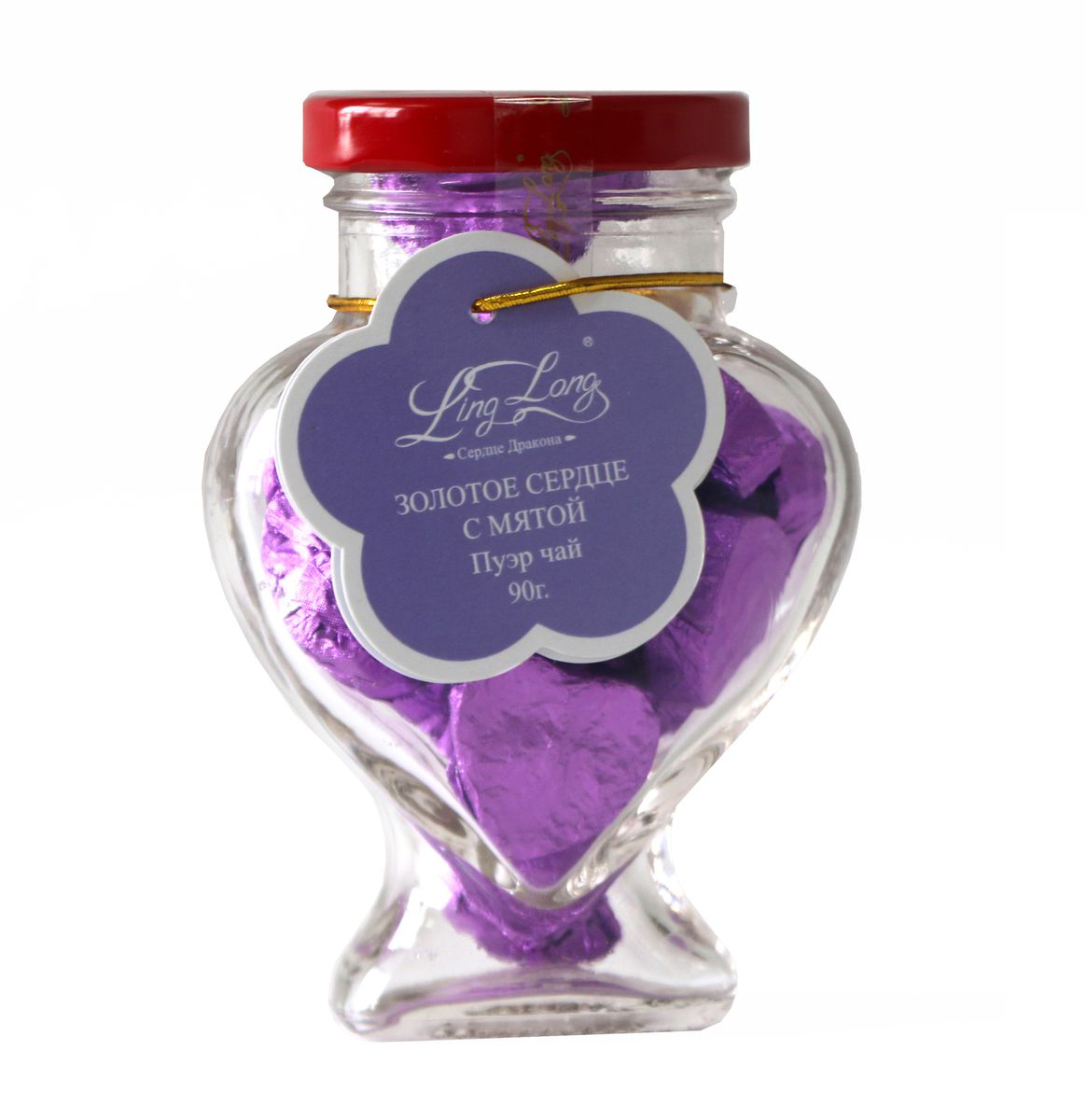 Ling Long Золотое сердце с мятой черный листовой чай пуэр, 90 г (стеклянная банка)